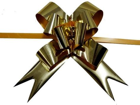 Pull String Butterfly Bows Metallic Gold