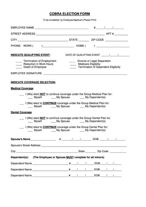 cobra election form printable