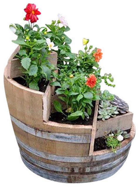 multi tier barrel planter rustic outdoor pots
