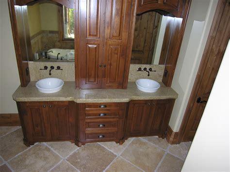 Brown Wooden Bathroom Double Vanity Having Marble Top And
