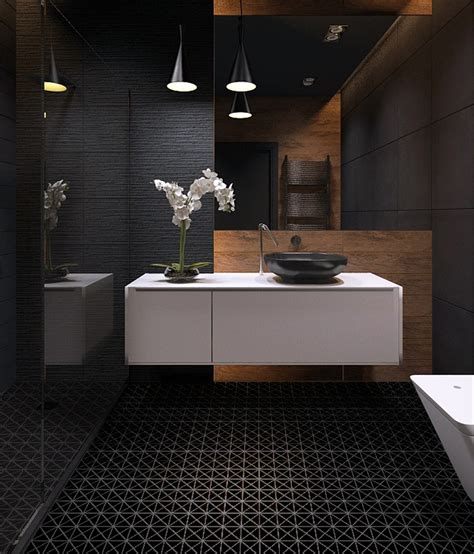 Black Bathroom Floor Tiles by 2 Black Matte Porcelain Triangle Mosaic Floor Tile