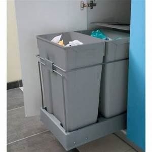 Meuble Poubelle Cuisine : poubelle tiroir tri selectif 2 bacs 70l accessoires de ~ Dallasstarsshop.com Idées de Décoration