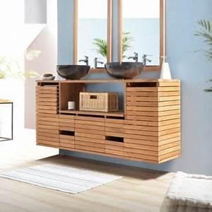 Meuble salle de bain teck double vasque a suspe achat for Meuble double vasque petite largeur