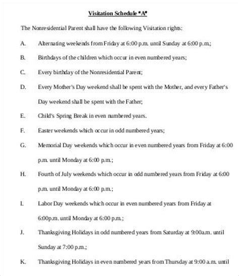 child visitation calendar template visitation schedule template 13 free word excel pdf format free premium templates