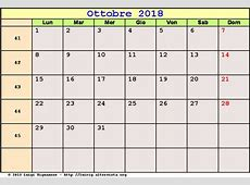 Calendario Ottobre 2018 PDF Halloween, Festa dei nonni