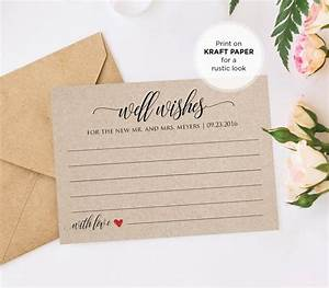 well wishes printable wedding advice card template for With bridal shower advice cards template