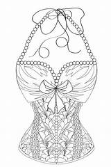 Corset Coloring Line Lace Pearls Adults Flowers Dreamstime Lady Lingerie Victorian Illustrations Vectors sketch template