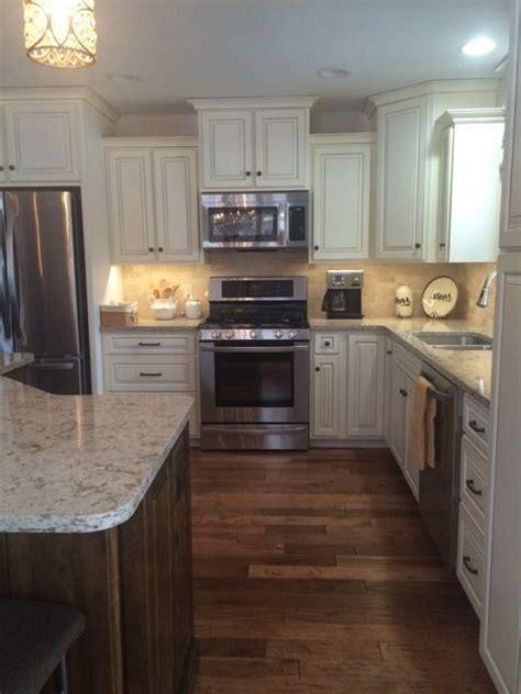 white coffee glazed cabinets walnut stained island