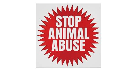 stop animal abuse poster zazzle