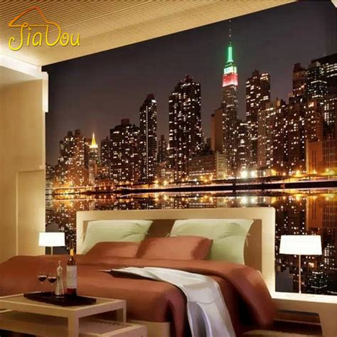 Living Room Wallpaper City by High Quality Custom 3d Photo Wallpaper City View
