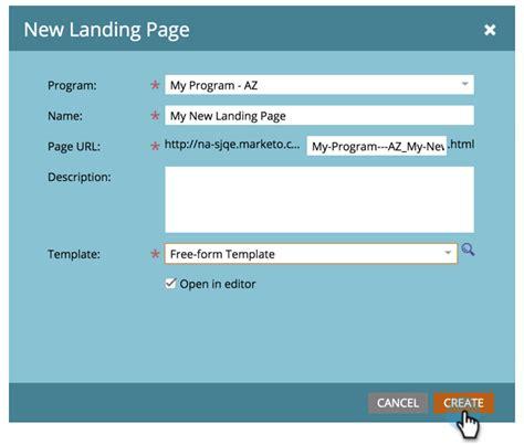 create a free form landing page marketo docs product documentation