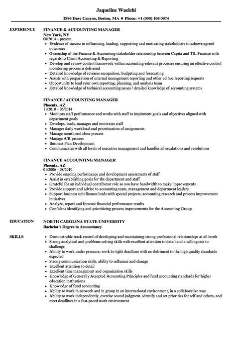 Resume For Accounting Manager by 20 Accounting And Finance Resume Sles Titleletter