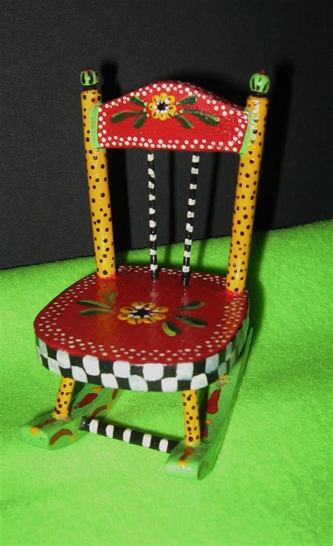 mini hand painted rocking chair  stuff   hand