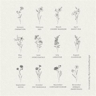 Birth Flower Month Flowers Svg Bundle Tattoo