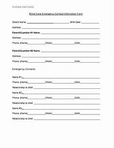 emergency contact forms With daycare information sheet template