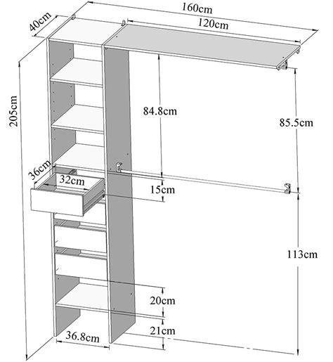 plan de dressing chambre kit aménagement placard 160 cm 4 tiroirs 2 penderies
