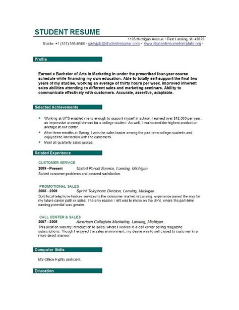 Resume Template For Student by Student Resume Templates Student Resume Template