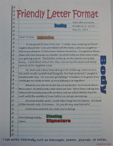 friendly letter format anchor  grade sra imagine