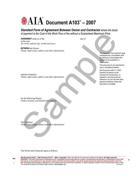 standard form of agreement between owner and contractor a103 2007 standard form of agreement between owner and