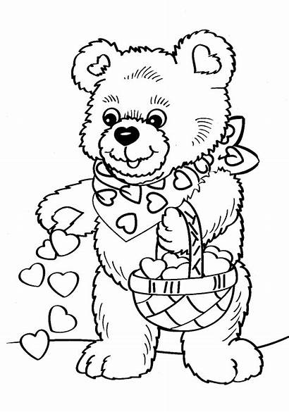 Coloring Pages Valentines Valentine Bear Teddy Printable