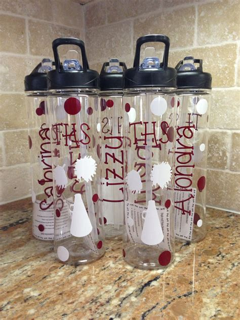 personalized water bottles great cheer team by