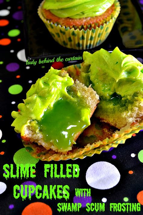 slime filled coconut lime halloween cupcakes