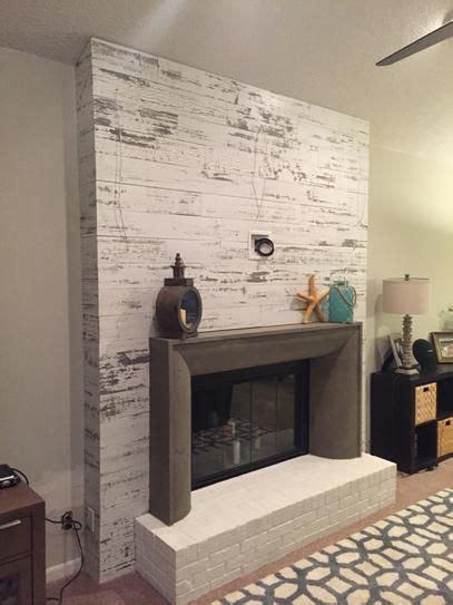 image result  white shiplap walls  brick fireplace