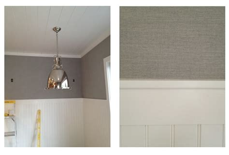 Synthetic Grasscloth Wallpaper Installed Above The Chair