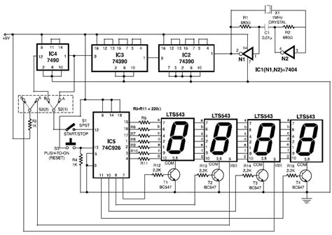 Electronic Stopwatch Schematic Diagram