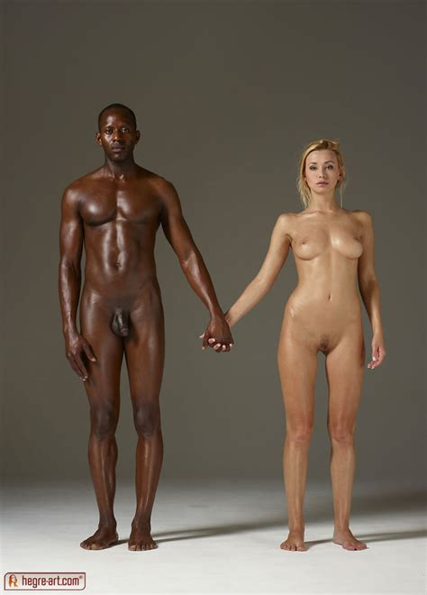 Nude Interracial Couple Modeling Pics