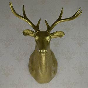 Full size wall mounted buck bust gold deer head trophy