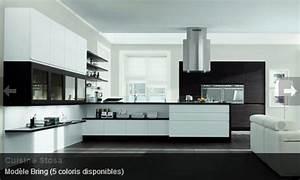 cuisine contemporaine noir blanc stosa mon rdv habitat With cuisine equipee noir et blanc