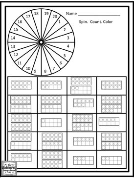 spin  count numbers    printable skills sheets