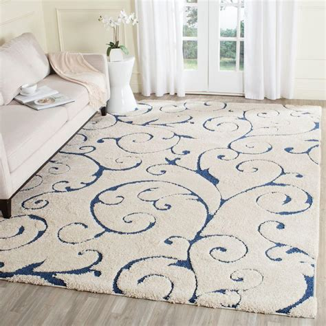 safavieh florida shag creamblue  ft   ft area rug