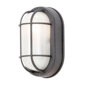 hton bay black outdoor wall mount oval bulkhead light