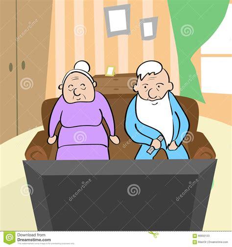 couple watching tv senior man  woman sitting