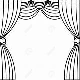 Curtain Drawing Coloring Sketch Template sketch template
