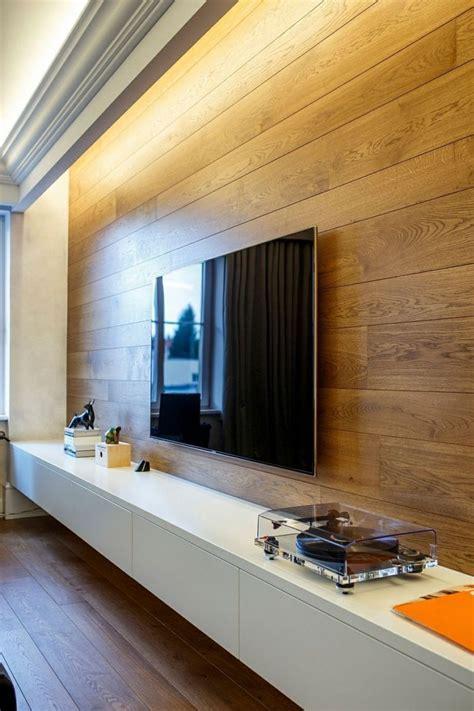 Indirekte Beleuchtung Und Wandpaneel Aus Holz Im