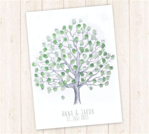 wedding tree hochzeit gaestebuch baum fingerabdruck von