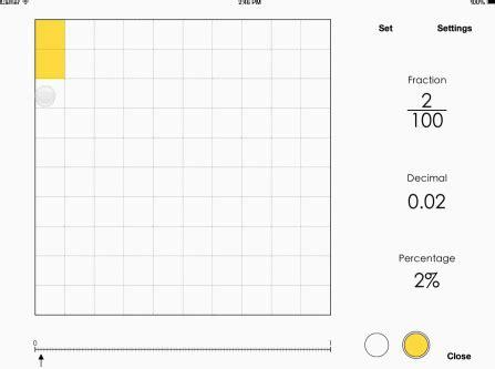 visual fractions decimals percentages  ipad iphone