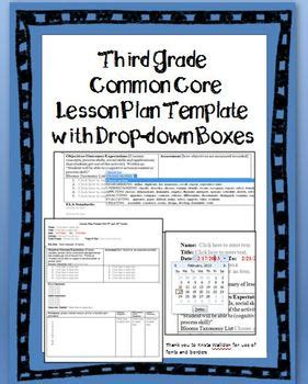 grade common core lesson plan template  drop