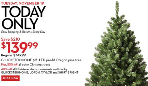 hudson s bay canada offers glucksteinhome 7 ft pre lit oregon pine tree for 139 99 save 210