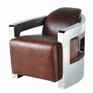 Fauteuil Cuir Marron Vintage : fauteuil cuir vintage marron darwin maisons du monde ~ Teatrodelosmanantiales.com Idées de Décoration