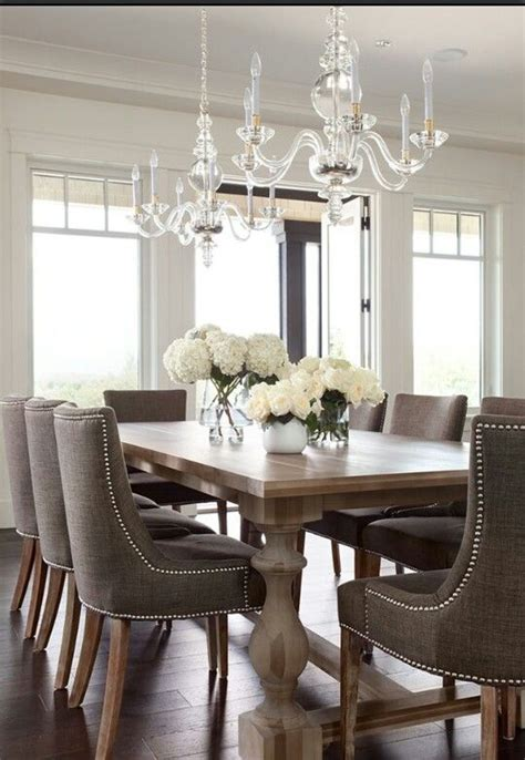 transitional farmhouse table upholstered chairs
