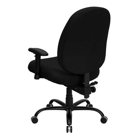 black fabric large office chair with arms and wide