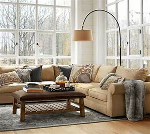 Pearce upholstered 3 piece l shaped sectional with wedge for Small sectional sofa pottery barn
