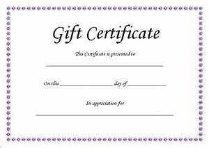 Gift Certificate Template Blank