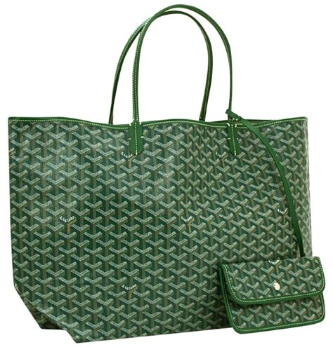 goyard signature mm monogram hand painted canvas st louis green tote bag  sale