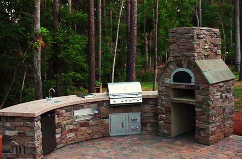 awesome backyard kitchen design brick stone grill island