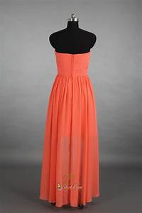 Coral High Low Bridesmaid Dress,Strapless Coral High Low ...